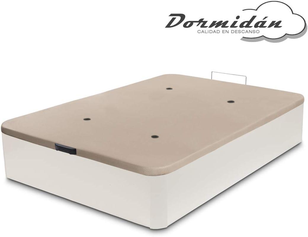 Dormidán - Canapé abatible de Gran Capacidad con Esquinas Redondeadas en Madera, Base tapizada 3D Transpirable + 4 válvulas aireación 90x190cm Color Blanco