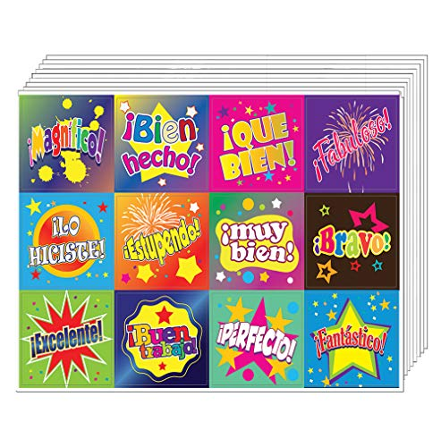 Creanoso Spanish Good Work Reward Stickers (10-Sheet) - Inspiring Encouraging Spanish Words Quotes Assorted Wall Stickers - Gift Rewards Ideas for Good Behavior - Awesome Sticker Set