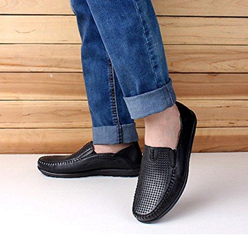Tda Heren Comfort Ademende Geperforeerde Lederen Loafers Drijfjurk Business Bootschoenen Zwart