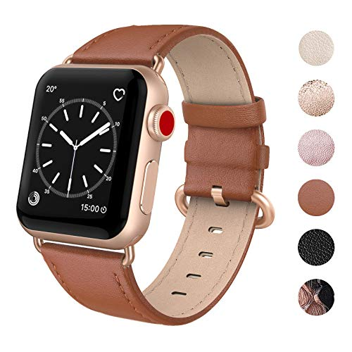 SWEES Compatible for Apple Watch Band 38mm 40mm, Genuine Leather Strap with Rose Gold Clasp Compatible iWatch Apple Watch Series 4 Series 3 Series 2 Series 1, Sports & Edition Women, Classic Brown
