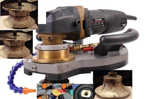 Variable Speed Wet Polisher B10 V20 V30 Half Full Bullnose Router Bit and Eco-Edge Granite Concrete and Stone Countertop Diamond Profile Hydrofloat Router Marble by Asia Pacific Construction