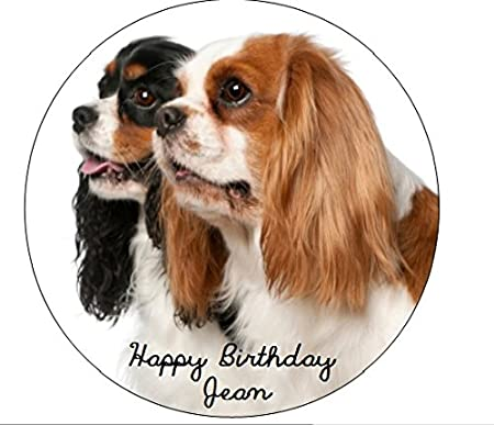 Personalised Cavalier King Charles Spaniel Dog Birthday Cake Topper