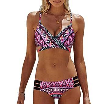 AmyDong Bikini Swimsuit,Women Bohemia Push-Up Padded Bra Printed Beach Bikini Set Swimsuit Swimwear Two Piece Black (US XS=Asian S, Pink)