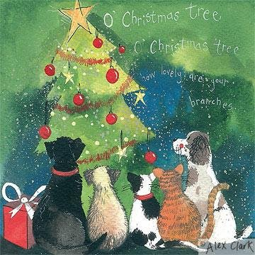 Alex Clark Charity Christmas Cards Cats Dogs Christmas Tree Pack Of 5 1 Free