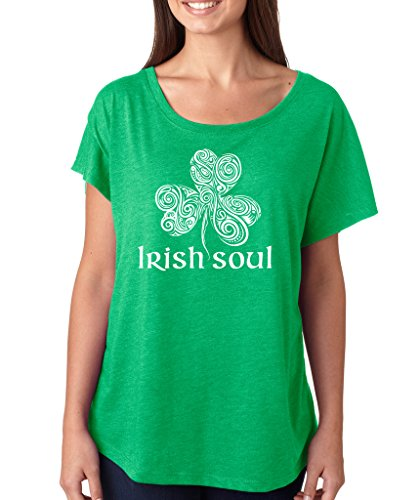 SignatureTshirts Women's Saint Patricks Day Irish Soul Dolman T-Shirt (White Print) 2XL Green ()