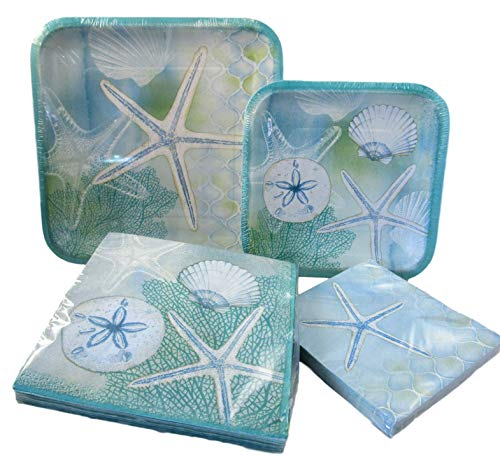 Ocean and Beach Party Packs - 2 Packs of Paper Plates and 2 Packs of Napkins (Soft Teal - Starfish, Sea Shells, and Sand Dollars) -
