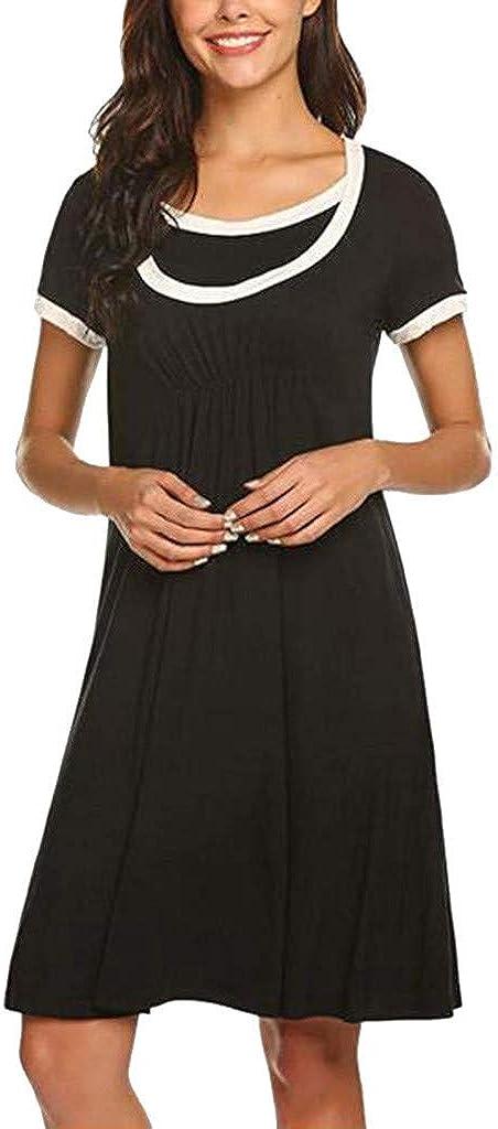 Morran Mode Umstandsnachthemd Umstandskleid Stillen Kleid N/ähte Colorblock umstands Bluse Stillzeit Schwangere Kleidung elegant Frauen Pflege Krankenhaus Nachthemd