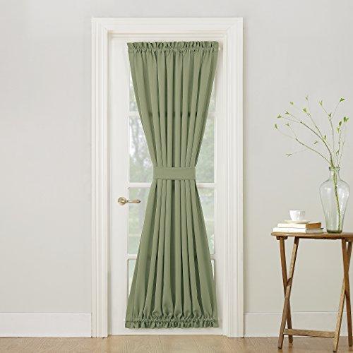 Sun Zero Barrow Energy Efficient Door Panel Curtain with Tie Back,Sage Green, (Back Door Tie Panel)