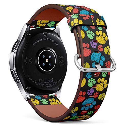 S-Type Replacement Leather Strap Printing Wristbands Compatible with Samsung Galaxy Watch 42mm 46mm Watch Band - Colorful Hand Drawn Doodle paw Prints