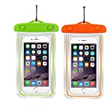 [2pack]Waterproof Case Universal CellPhone Dry Bag Pouch CaseHQ for Apple iPhone 8,8plus,7,7Plus,6S, 6, 6S Plus, SE, 5S, Samsung Galaxy s8,s8plus, S7, S6 Note 7 5,HTC LG Sony Nokia up to 5.8' diagonal