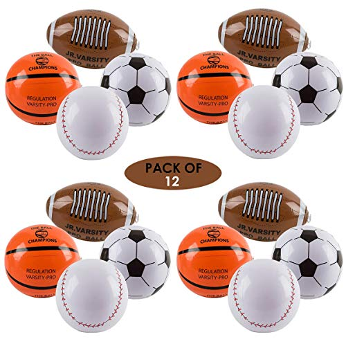 Forest & Twelfth Inflatable 9 inch Sports Balls, Pack of 12, Sports Ball Inflate Toys Set Includes Baseball, Basketball, Football, and Soccer Ball - Ideal Party Favors and -