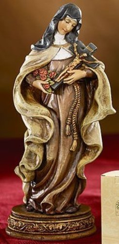 Flowers Statue - Saint Theresa the Little Flower of Jesus Resin Statue Figurine, 6 Inch