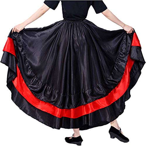 - Women Gypsy Performance Tiered Skirt Belly Spanish Bull Dance Dress- Red Circle (Black Theme)