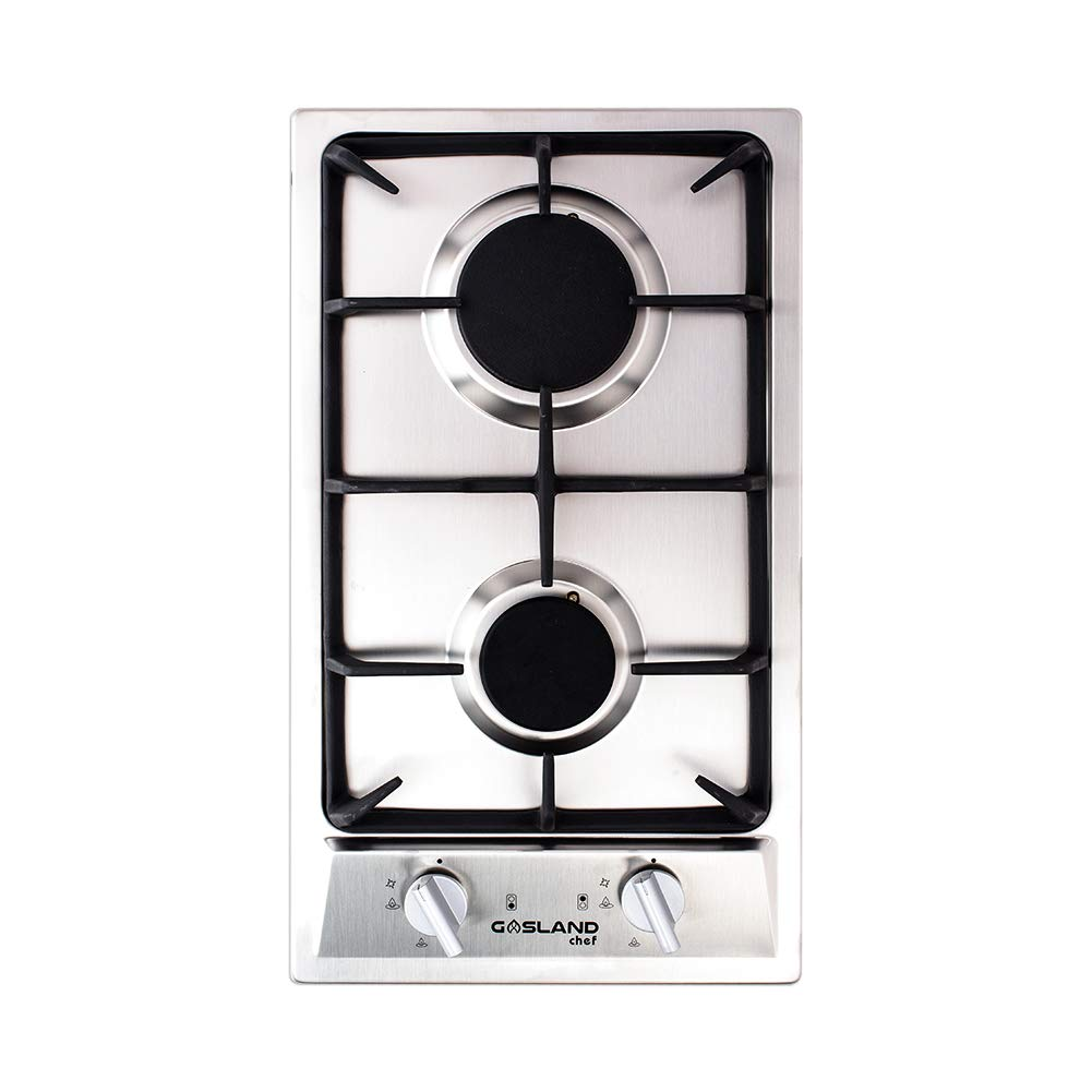 GASLAND chef GH30SF 30cm Built-in 2 Burner Gas Hob Domino Cooker Stainless Steel Cooktop with Flame Failure Protection TINON