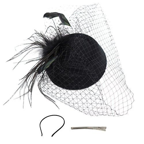 756c612fc7281 Wheebo Fascinator Hat Flower Feather Mesh Net Veil Party Wedding Headband  for Women Girls (D