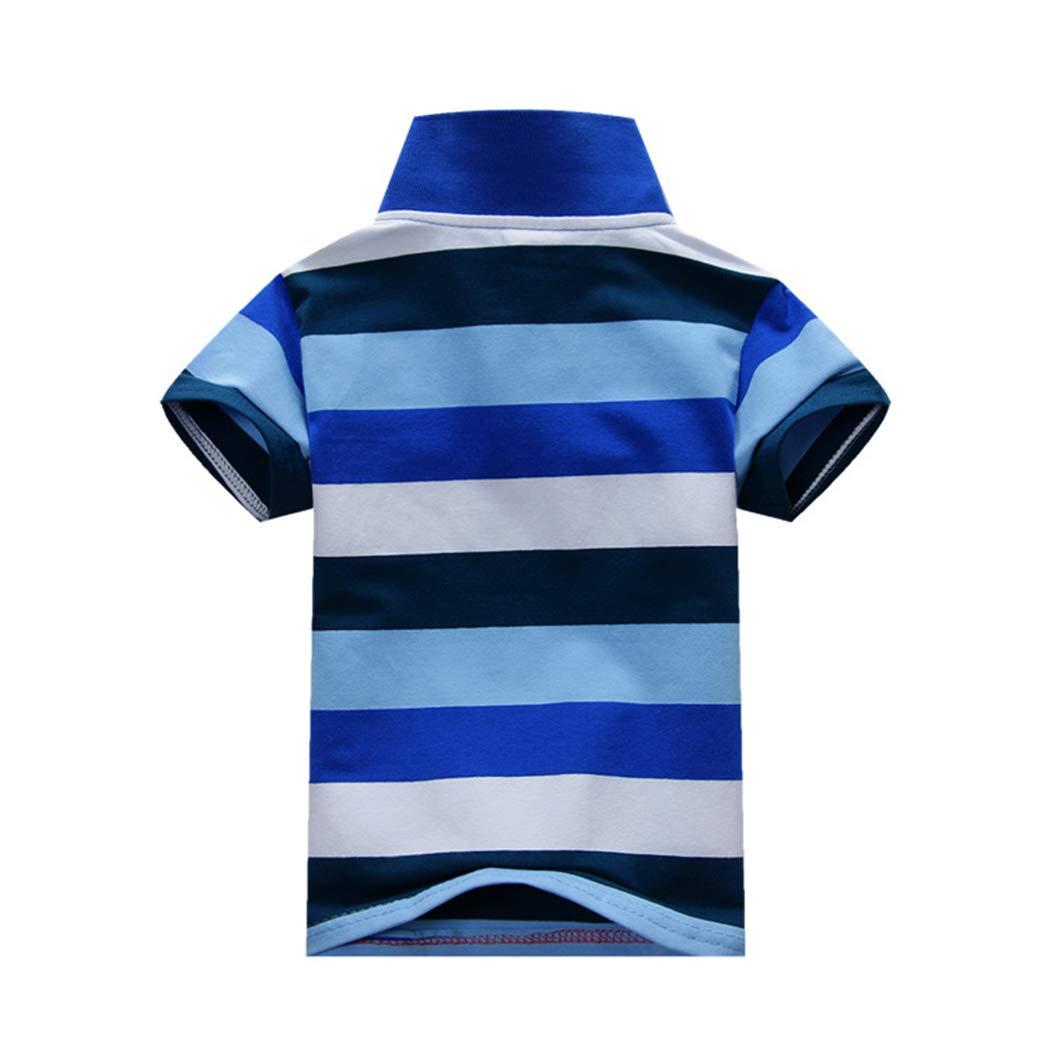 XINXINHAIHE Kids Boys Stripe Lapel Uniform Polo Short Sleeve Tee Shirt Summer Cotton Top