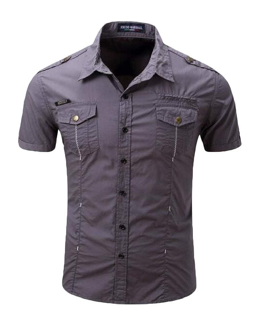 YYear Men Outdoor Casual Solid Button Down Short Sleeve Dress Shirt