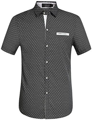 SSLR Men's Cotton Polka Dot Short Sleeves Slim Fit Dress Shirts (X-Large, Black)