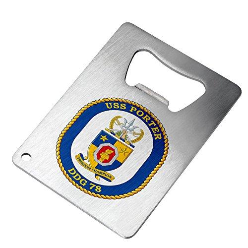 Bottle Opener - Stainless Steel - Fits in wallet - US Navy USS Porter (DDG 78), destroyer emblem (crest)