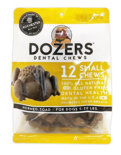 Dozers Horned Toad Dental Dog Chews - 100% All Natural Ingredients - Gluten Free Dental Healthy Delicious Dog Treat - Promotes Fresh Breath (Small, 1 Bag)