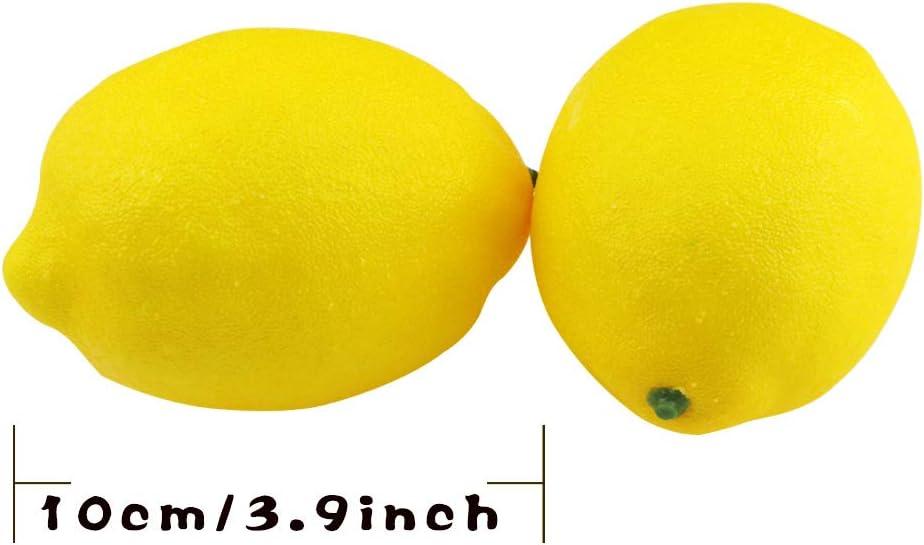 DLOnline 12PCS Fake Yellow Lemons,Fake Fruit,Lifelike Fruit for Home House Kitchen Party Decoration