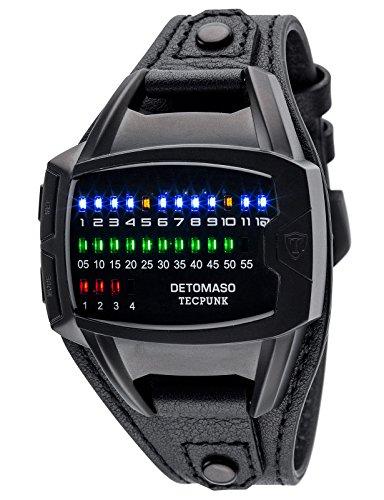 DETOMASO Tecpunk Mens Digital Wrist Watch Black Stainless Steelcasing Black Leather Strap Binary Look With Stylish LEDs DT-YG106-E