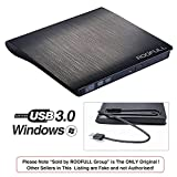 ROOFULL External DVD Drive USB 3.0, Portable CD DVD +/-RW Optical Drive Burner Writer, Compatible for Windows 10/8 / 7 Laptop Desktop PC of HP Dell LG Asus Acer LG Lenovo Thinkpad MacBook Pro, Black