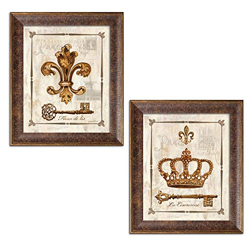 Gango Home Décor King and Queen Fleur De Lis, Keys and Crown Print Set; Two 8x10in Gold Trim Brown Framed Prints; Ready to Hang! (Lis Key)