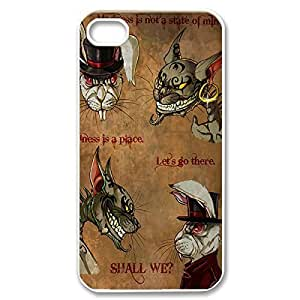 the Amazing Painting Design with Cheshire protecting Cat Quotes We Are All Mad Here Thin & Strong Plastic and Shell Cover for iphone 6 4.7 and 6 4.7 -White030903