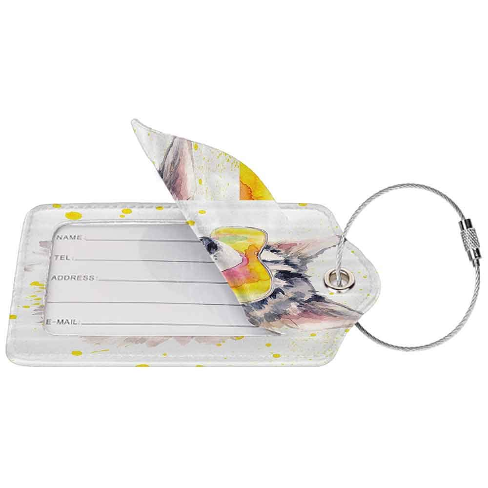 Decorative luggage tag Animal Funny Husky Dog with Sunglasses Humorous Cute Watercolor Cool Puppy Picture Suitable for travel Yellow Grey Beige W2.7 x L4.6