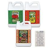 FoxFarm Nutrient Fertilizer Trio Bundle: Grow Big, Big Bloom, Tiger Bloom - 1 Gallon Each + Twin Canaries Chart