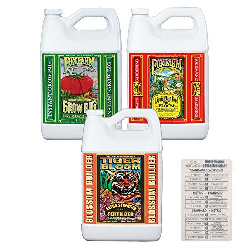FoxFarm Nutrient Fertilizer Trio Bundle: Grow Big, Big Bloom, Tiger Bloom - 1 Gallon Each + Twin Canaries Chart by The Hydroponic City
