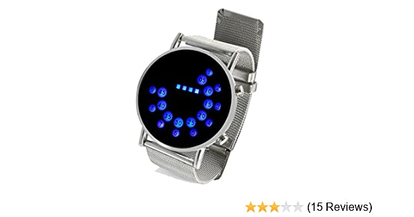 Amazon.com: LED Round Mirror Blue Circles Stainless Steel Wrist Watch: Watches