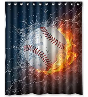 Unique Custom Fashionable Design Baseball Waterproof Polyester Fabric Shower Curtain 60X72 Bathroom