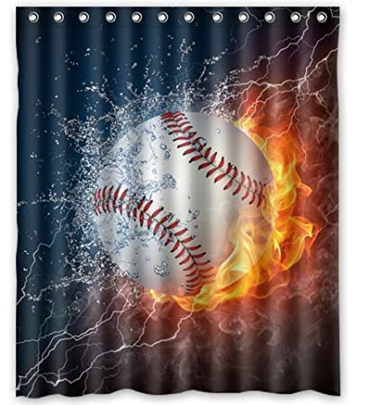 Unique Custom Fashionable Design Baseball Waterproof Polyester Fabric Shower Curtain 60quotX72quot Bathroom