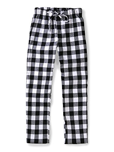 Flannel Pajama Striped Pants (OCHENTA Men's Cotton Woven Pajama Lounge Pant, Plaid Soft Sleepwear Black Plaid 36)