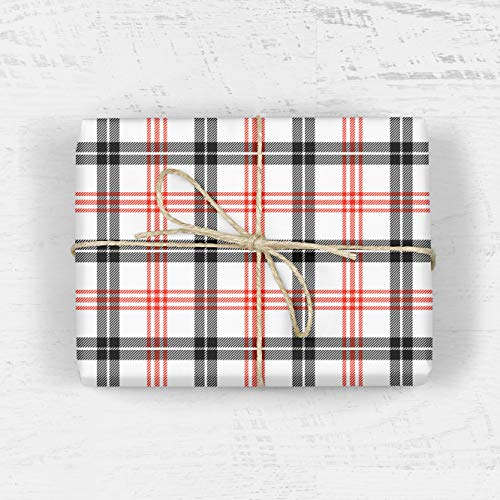 "Red and Black Wrapping Paper - Set of Three Sheets 20"" x 29"" - Christmas, Fathers Day, Groom, Wedding, Hanukkah, Modern, Boy, Girl, Scrapbooking, Craft Paper from The Eclectic Chic Boutique"
