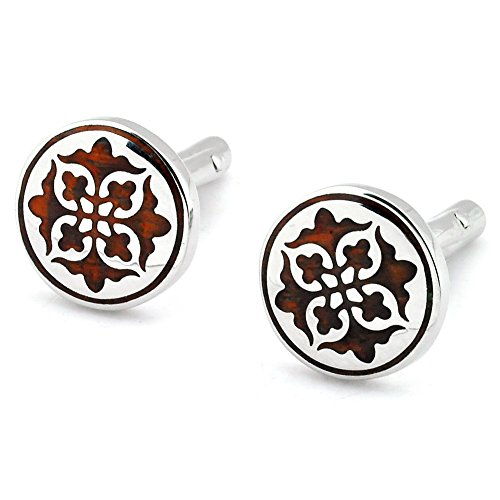 UPC 617529361491, PenSee Unique Stainless Steel & Red Wood Floral Cufflinks for Men with Gift Box