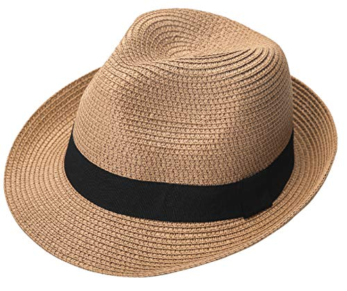 Lanzom Men Summer Straw Foldable Roll up Hat Fedora Beach Sun Hat UPF50+ (B-Khaki)