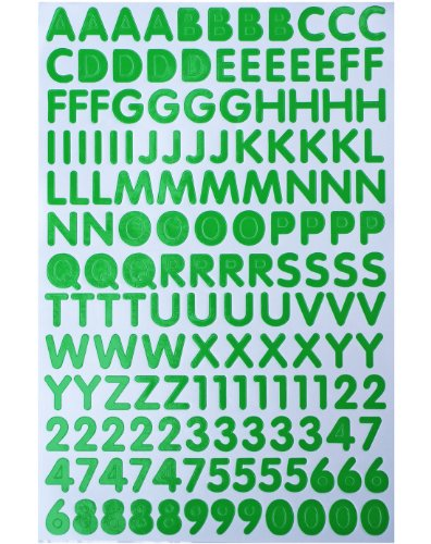 Jazzstick Alphabet Letters / Numbers Decorative Sticker Value Pack 5 sheets, Green