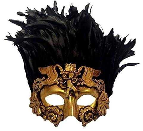 Venetian Antique Deep Gold Half Mask Mardi Gras Feathers Angel Cherub Roman Bird (Cherub Mask)
