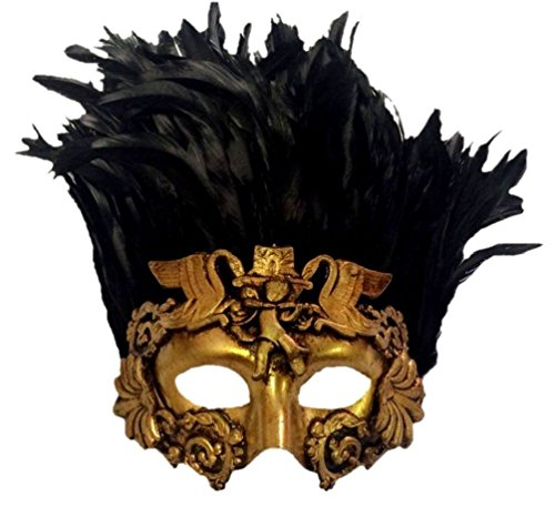 Venetian Antique Deep Gold Half Mask Mardi Gras Feathers Angel Cherub Roman (Greek Mythical Creatures Costumes)