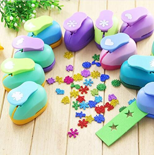 Since Pack of 3 Puncher Scrapbooking Punches Shaped Hole Punch Paper Cutter Scrapbook Embossing Machine Decorative Craft Punch Perforator 15mm,Random Color and ()