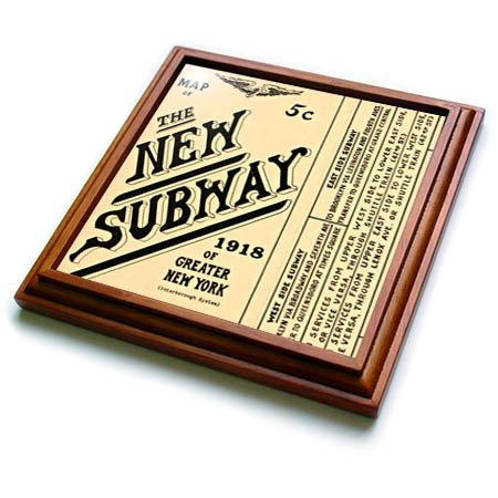 3dRose New York - Image of 100 Year Old Subway Map Of New York - 8x8 Trivet with 6x6 ceramic tile ()
