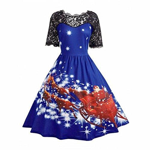 Pizzo Sera Principessa Abito Signore Natale Elegante VintageDonna Kword Swing Vintage Partito Vestito Da Blu Vestire bYg6If7yvm