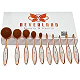 10pcs Deluxe Rose Gold + White Toothbrush Elite Make-up Brushes Set Powder Foundation Contour with Case Box