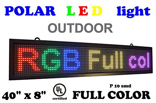 OUTDOOR LED RGB color sign 40'' x 8'' with high resolution P10 and new SMD technology. Perfect solution for advertising by POLAR light