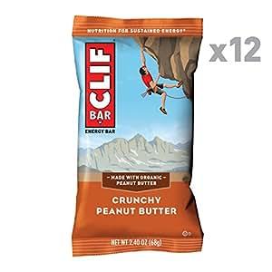 CLIF CLIF BAR Crunchy Peanut Butter (Box of 12), 12 x 68 g