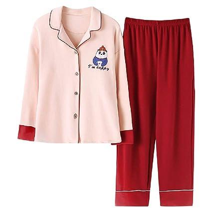 ShenZuYangShop Pijamas Ropa de Dormir de otoño de Manga Larga Pijamas de algodón de Color Rosa