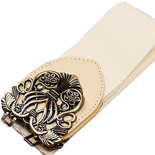Copper Chain Belt - MoYoTo Women's Palace Retro Vintage Carved Wide Belt For Dress Elastic Waist Chain (Copper-Beige)